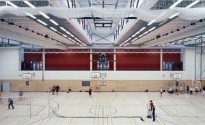 RKW Duesseldorf Dreifachsporthalle Comenius Gymnasium Oberkassel Tribuene Wettkampfhalle Tomas Riehle 05